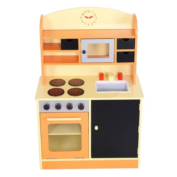 Shop Costway Wood Kitchen Toy Kids Cooking Pretend Play Set Toddler ...