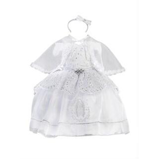 Baby Girls White Off-Shoulder Virgin Mary Organza Christening Dress