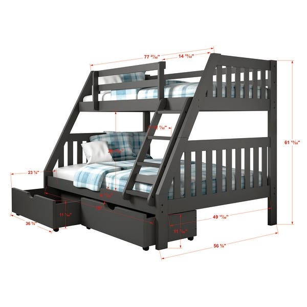 Twin Over Full Mission Dark Grey Bunk Bed On Sale Overstock 20113242
