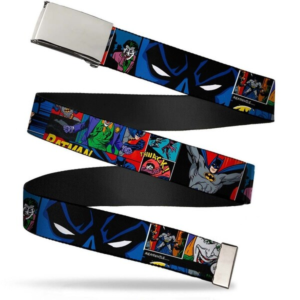 "Blank Chrome 1.0"" Buckle Batman & Joker Comic Strip Webbing Web Belt 1.0"" Wide - S"