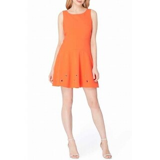 Tahari by ASL NEW Orange Womens 14P Petite Grommet Detail A-Line Dress