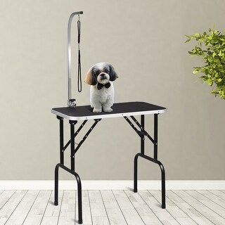 Gymax 32'' Adjustable Folding Pet Dog Grooming Table Rubber Table Top w Arm & Noose