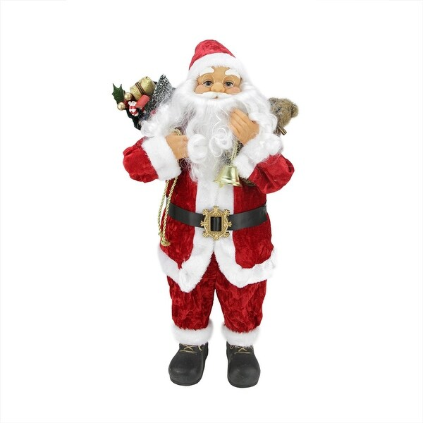 """24"""" Traditional Red and White Standing Santa Claus Christmas Figure with Gift Sack"""