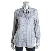 Two by Vince Camuto Womens Button-Down Top Flannel Plaid