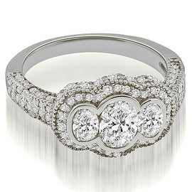 2.00 cttw. 14K White Gold Antique Halo Three Stone Oval Diamond Engagement Ring