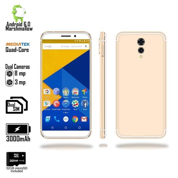 4G LTE 5.6-inch Android 6 Marshmallow Smartphone (GSM Unlocked + Quad-Core @ 1.3ghz + 1GB RAM + 32gb microSD) - White