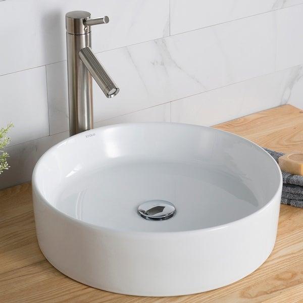 Kraus Elavo 18 inch Round Porcelain Ceramic Vessel Bathroom Sink