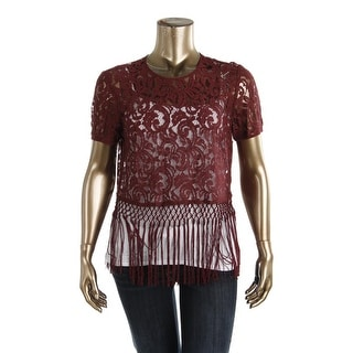 MICHAEL Michael Kors Womens Lace Fringe Crop Top