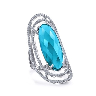 Bling Jewelry CZ Blue Statement Ring Rhodium Plated