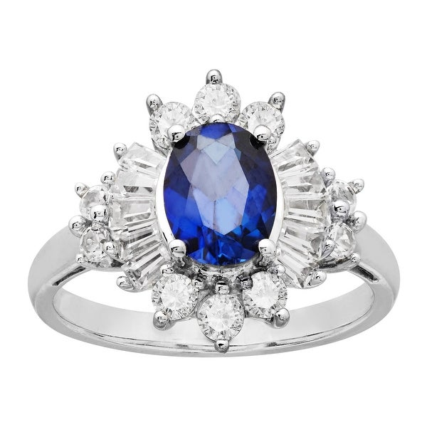 1 5/8 ct Blue and White Sapphire Ring in Sterling Silver