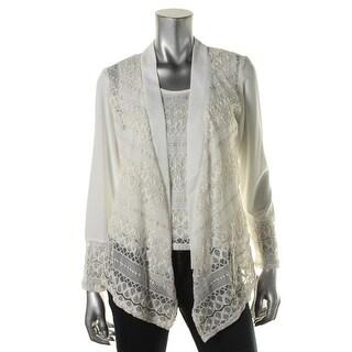R&M Richards Womens Lace Metallic Dress Top - M