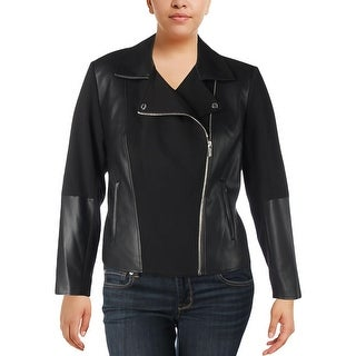 Calvin Klein Womens Plus Moto Coat Faux Leather Long Sleeves