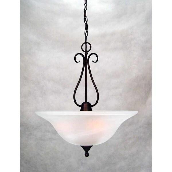 """Volume Lighting V2343 Minster 3-Light Foyer 21.5"""" Height Pendant with Alabaster Glass Shade"""