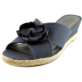 Life Stride Omega Women W Open Toe Canvas Blue Wedge Sandal