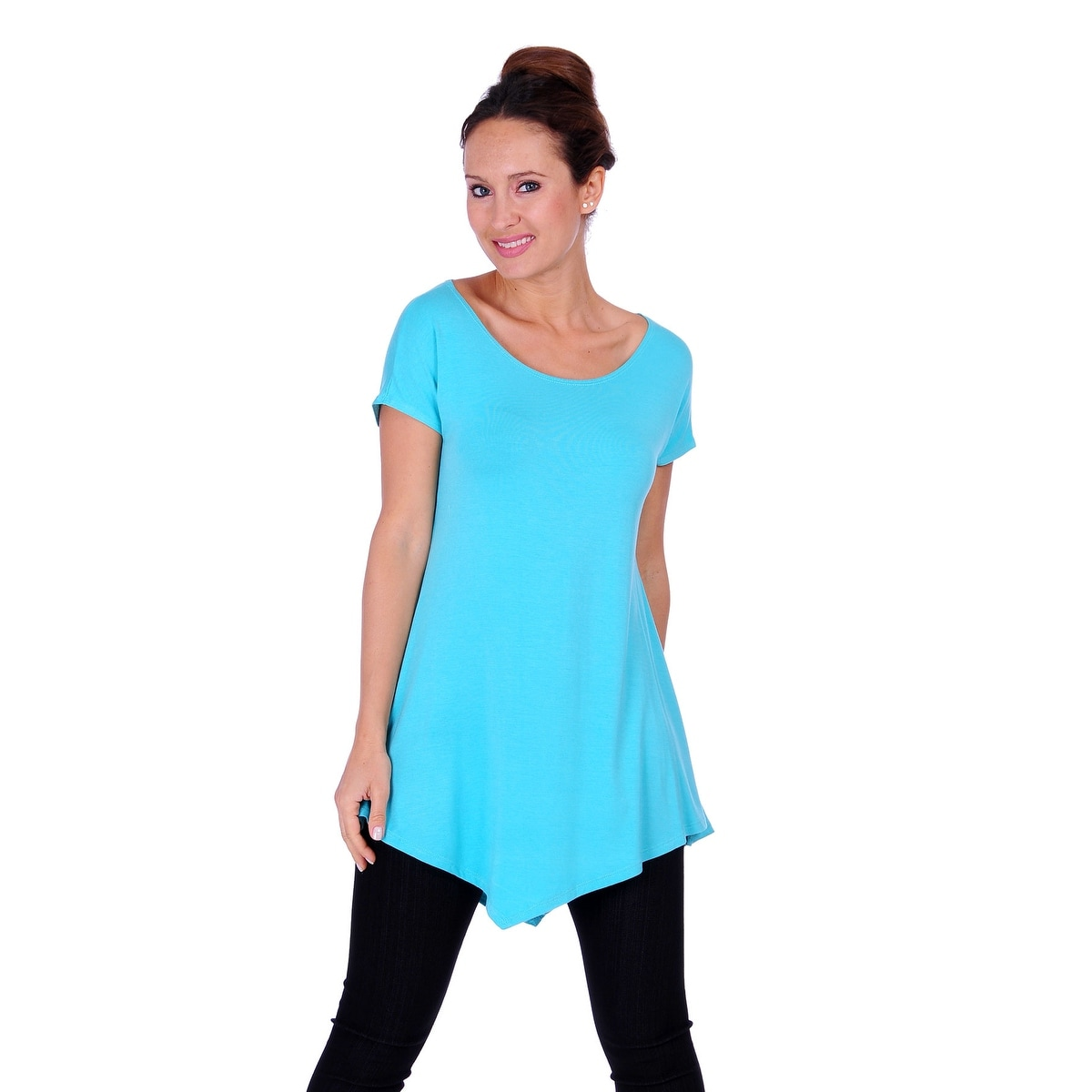 Simply Ravishing Women's Assymetrical Front/Back Handkerchief Hem Sleeveless Tunic Top - Thumbnail 7