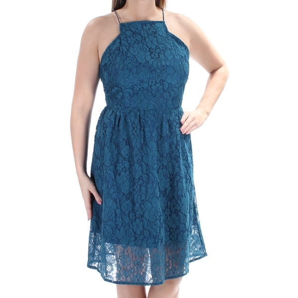 de55577168 Shop KENSIE  89 Womens New 1108 Teal Floral Lace Spaghetti Strap Dress L  B+B - Free Shipping On Orders Over  45 - Overstock - 21329380