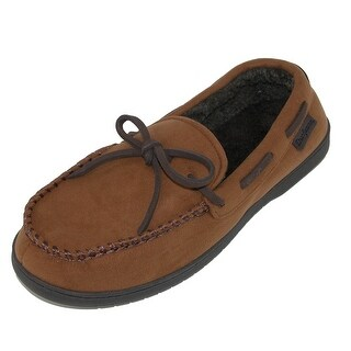 Dearfoams Men's Microfiber Suede Moccasin Slipper with Whipstitch