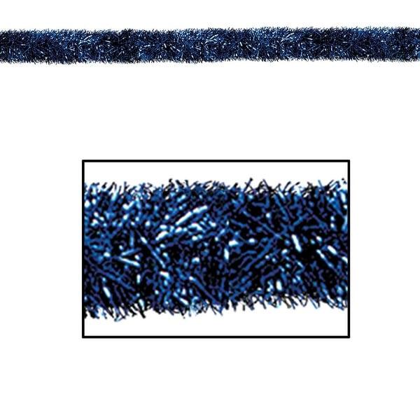 100' Festive Shiny Blue Gleam 'N Tinsel Holiday Garland - Unlit