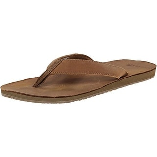 Sanuk Mens John Doe Flip-Flops Leather Casual