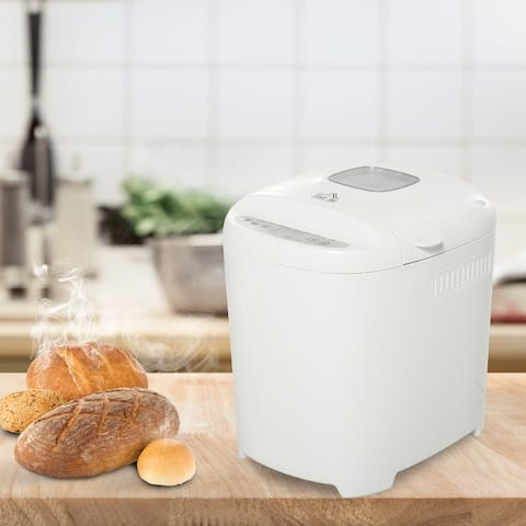 HOMCOM 2 Pound Non-Stick Bread Maker Machine With 11 Menu Settings, 2 Loaf Sizes, 3 Crust Colors, 13h Delay Timer