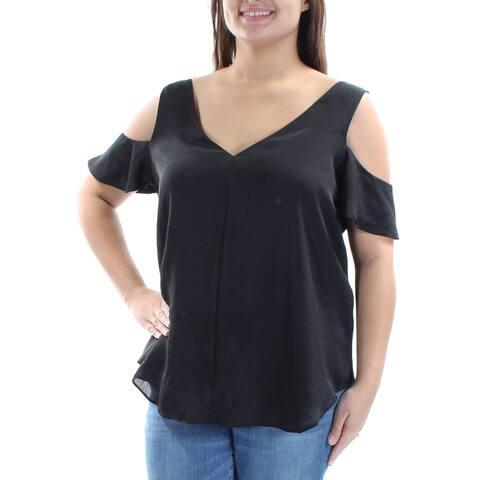 RACHEL ROY Womens Black Cut Out V Neck Top Size XL