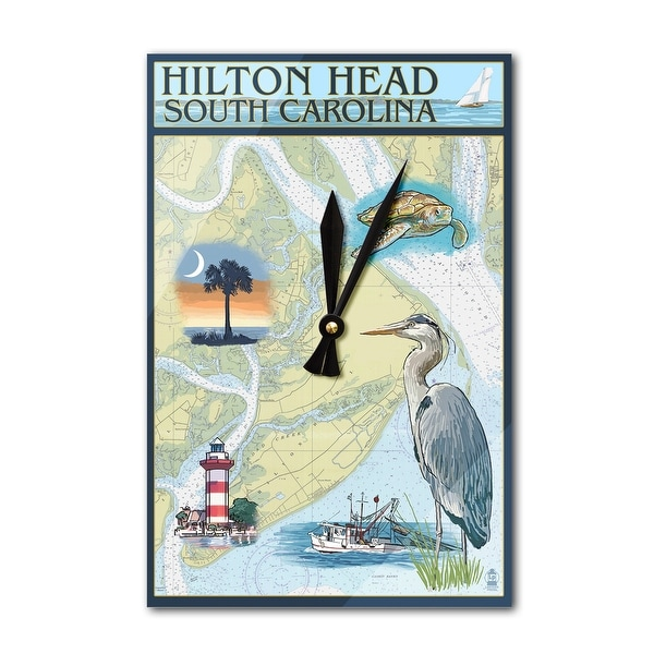Hilton Head, SC - Nautical Chart - LP Artwork (Acrylic Wall Clock) - acrylic wall clock