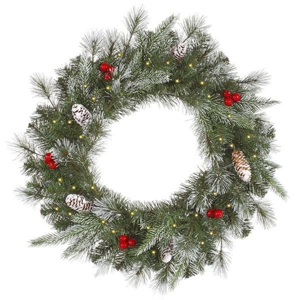 """36"""" Pre-Lit Frosted Pine Berry Artificial Christmas Wreath - Clear Lights - green"""