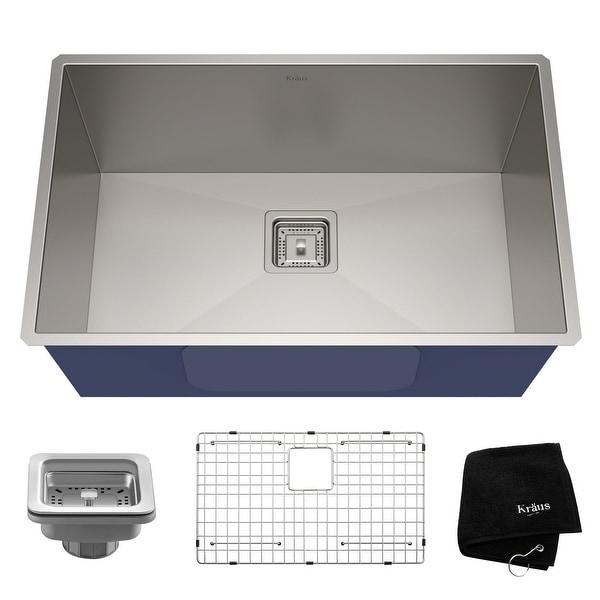 KRAUS Pax Stainless Steel 28 1/2 inch 1-Bowl Undermount Kitchen Sink. Opens flyout.