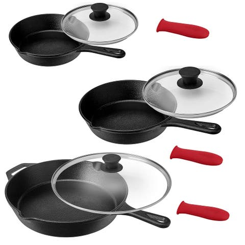 MegaChef Pre-Seasoned 9 Piece Cast Iron Skillet Set with Lids and Red Silicone Holder