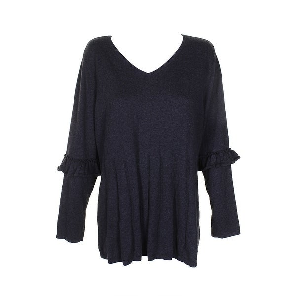 c5259cca0 Style Co Plus Size Dark Grey Ruffled-Sleeve Pleat V-Neck Long Sleeve  Sweater. Click to Zoom