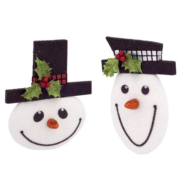 Club Pack of 12 Black and White Smiling Snowman Ornaments 8""
