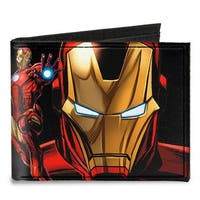 "Iron Man Pose Face Close Up + Pose Iron Man ""A"" Logo Black Gold Red Canvas Canvas Bi-Fold Wallet One Size - One Size Fits most"