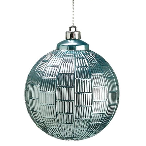 "4"" Winter Light Linear Chequer Shiny Pastel Blue Christmas Ball Ornament"