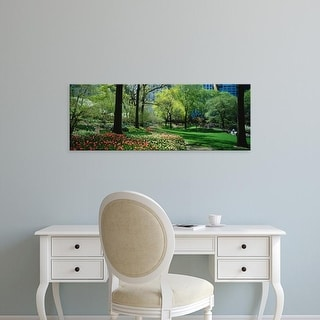 Easy Art Prints Panoramic Images's 'Trees in a park, Central Park, Manhattan, New York City, New York State' Canvas Art