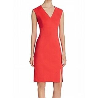 T Tahari NEW Coral Pink Womens Size 14 V-Neck Sleeveless Sheath Dress