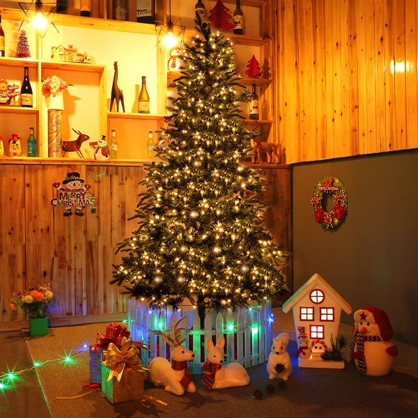 Costway 7.5 ft Pre-lit Artificial Christmas Tree w/750 LED Lights & Stand Holiday Season - Green