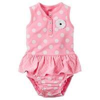 Carter's Baby Girls' Polka Dot Sunsuit (6 Months, Pink)