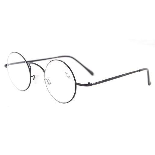 Eyekepper Readers Lightweight Round Metal Circle Reading Glasses Black +1.5