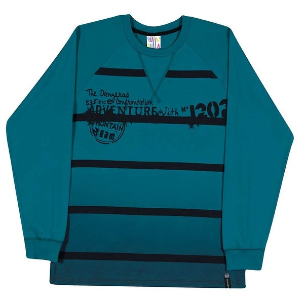 Tween Boys Long Sleeve Shirt Striped Graphic Tee Pulla Bulla Sizes 10-16 Years