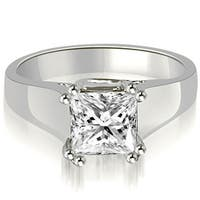 0.50 cttw. 14K White Gold Dual Prong Solitaire Princess Diamond Engagement Ring