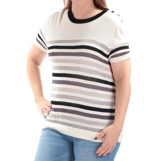 ANNE KLEIN $79 Womens New 2186 Ivory Striped Short Sleeve Sweater XL B+B