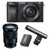 Sony Alpha a6300 Mirrorless Camera with 16-50mm/18-105mm Lenses and Mic Bundle