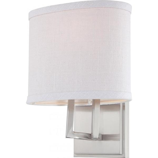 Nuvo Lighting 60/4751 Gemini Single Light Bathroom Fixture with Slate Gray Fabric Shade - Brushed nickel