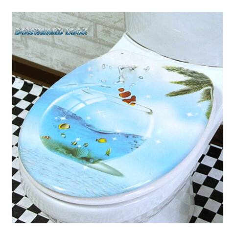 Resin 8 Designs No Slow Descent Toilet Seat - Blue - 1