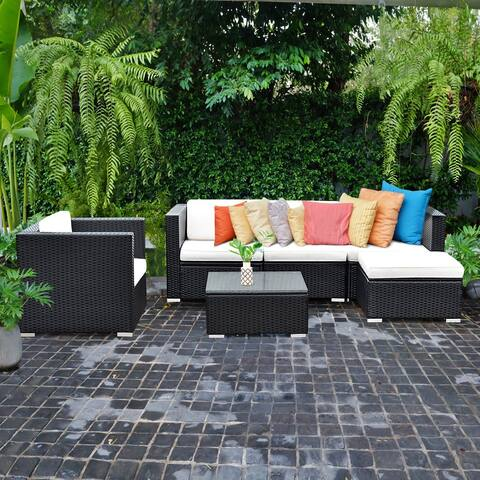 Costway 6 PC Patio Rattan Furniture Set Sectional Cushioned Seat Garden Black Wicker