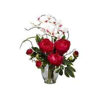 Nearly Natural Peony & Orchid Silk Flower Arrangement
