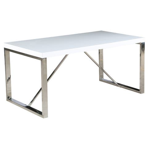 Modern Mid Century Glossy Paint Wood top Silver Chrome Steel Leg Base Rectangle Dining Table Home Office Restaurant