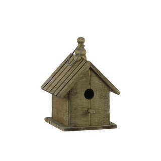 Link to Wooden Bird House with Gable Roof Design and Metal Handle, Brown Similar Items in Accent Pieces