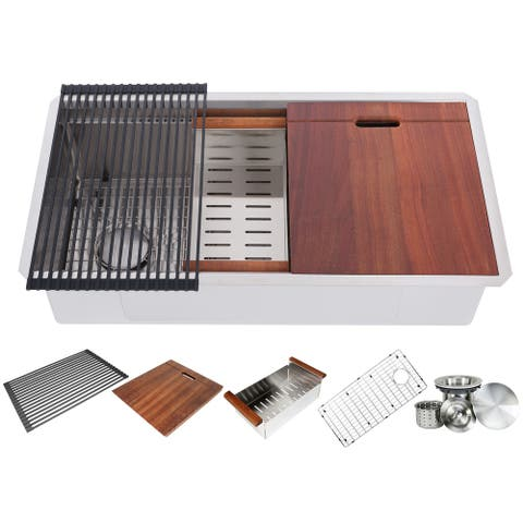 36 Inch Workstation Undermount 16 Gauge Single Bowl Stainless Steel Kitchen Sink w/ Integrated Ledge, 15mm Radius Accessories