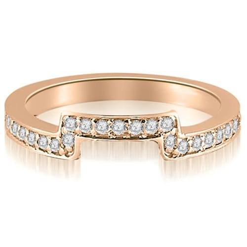 0.25 cttw. 14K Rose Gold Round Cut Diamond Curve Wedding Band